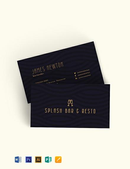 Bartender Business Card Template