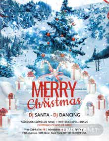 Free Christmas DJ Party Poster Template