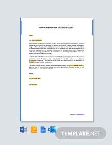 Free Apology Letter for Mistake to Client
