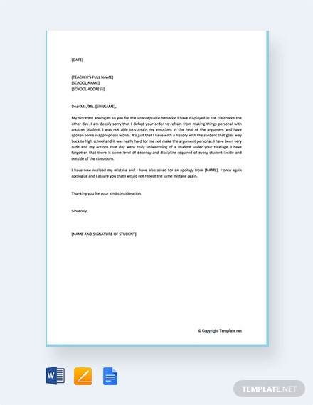Free Apology Letter for Mistake to Teacher