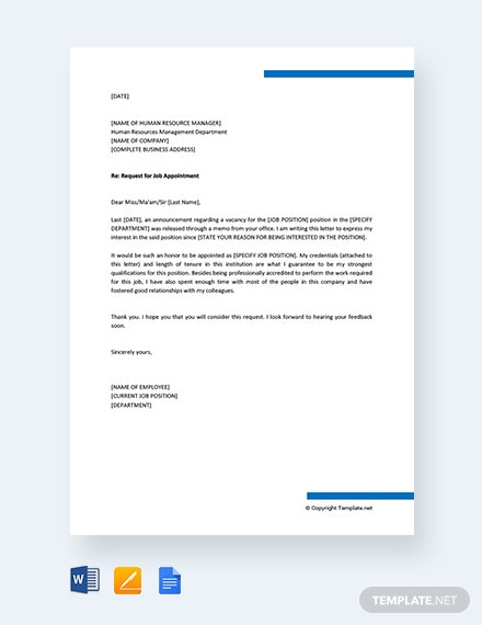 Free Request For Job Appointment Letter Sample Template Download