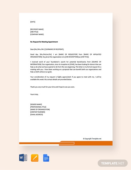 Free Request Letter for Meeting Appointment