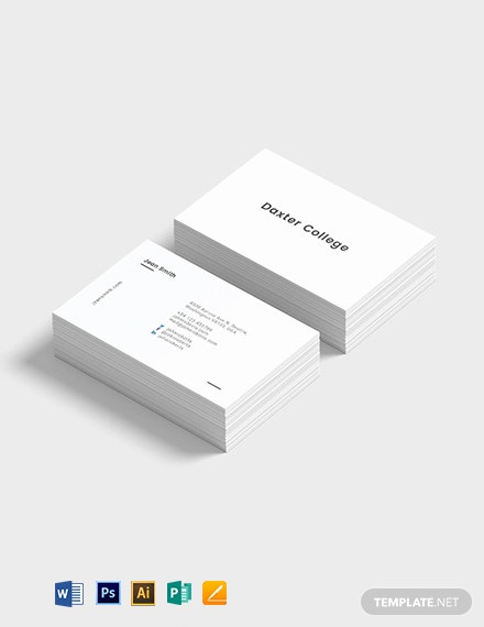 Minimalist Teacher Business Card Template