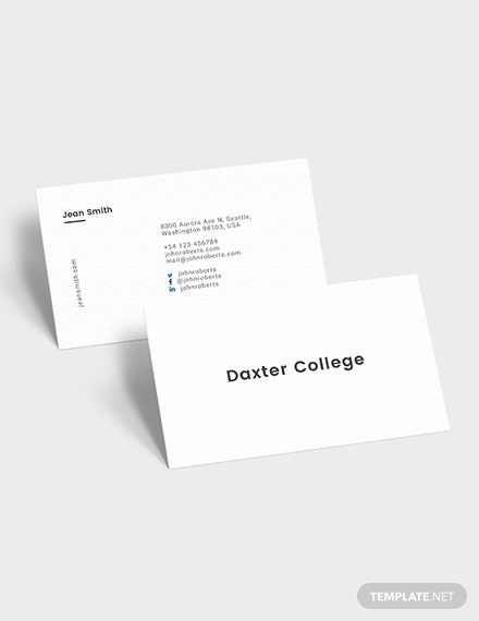 Sample Minimalist Teacher Business Card