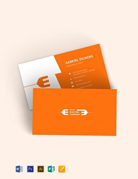 Modern Electrician Business Card Template