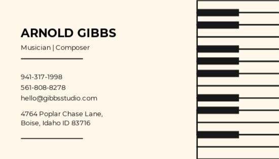 Musician Business Card Template.jpe