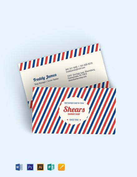 Vintage Barber Business Card Template