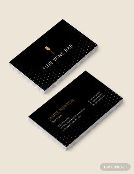 Elegant Bartender Business Card Template
