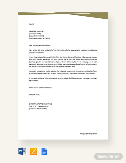 free letter of recommendation for coworker for graduate