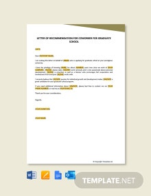 Free Letter of Recommendation for Coworker for Graduate School