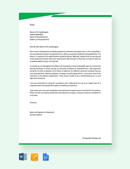Free Job Application Letter for Nurse