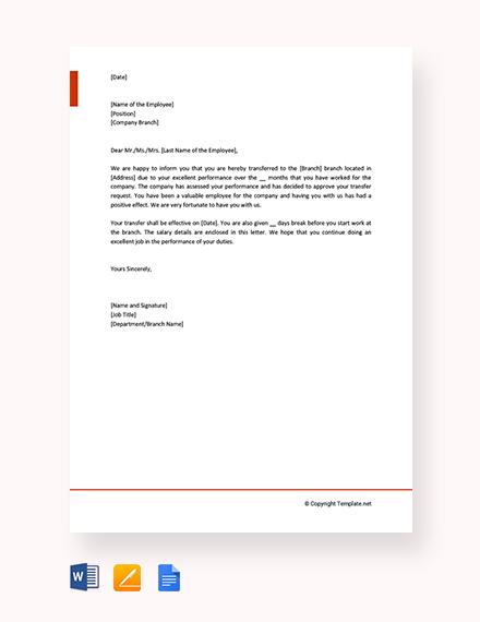 Free Employee Transfer Letter