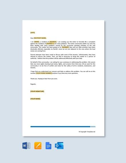 Free Noise Complaint Letter to Council