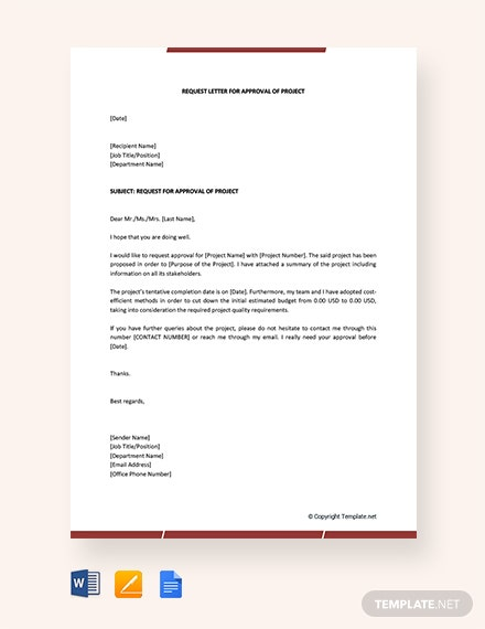 Free Request Letter for Approval of Project