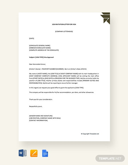free job invitation letter for visa template