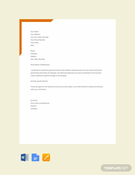 Free Formal Thank You Letter Template