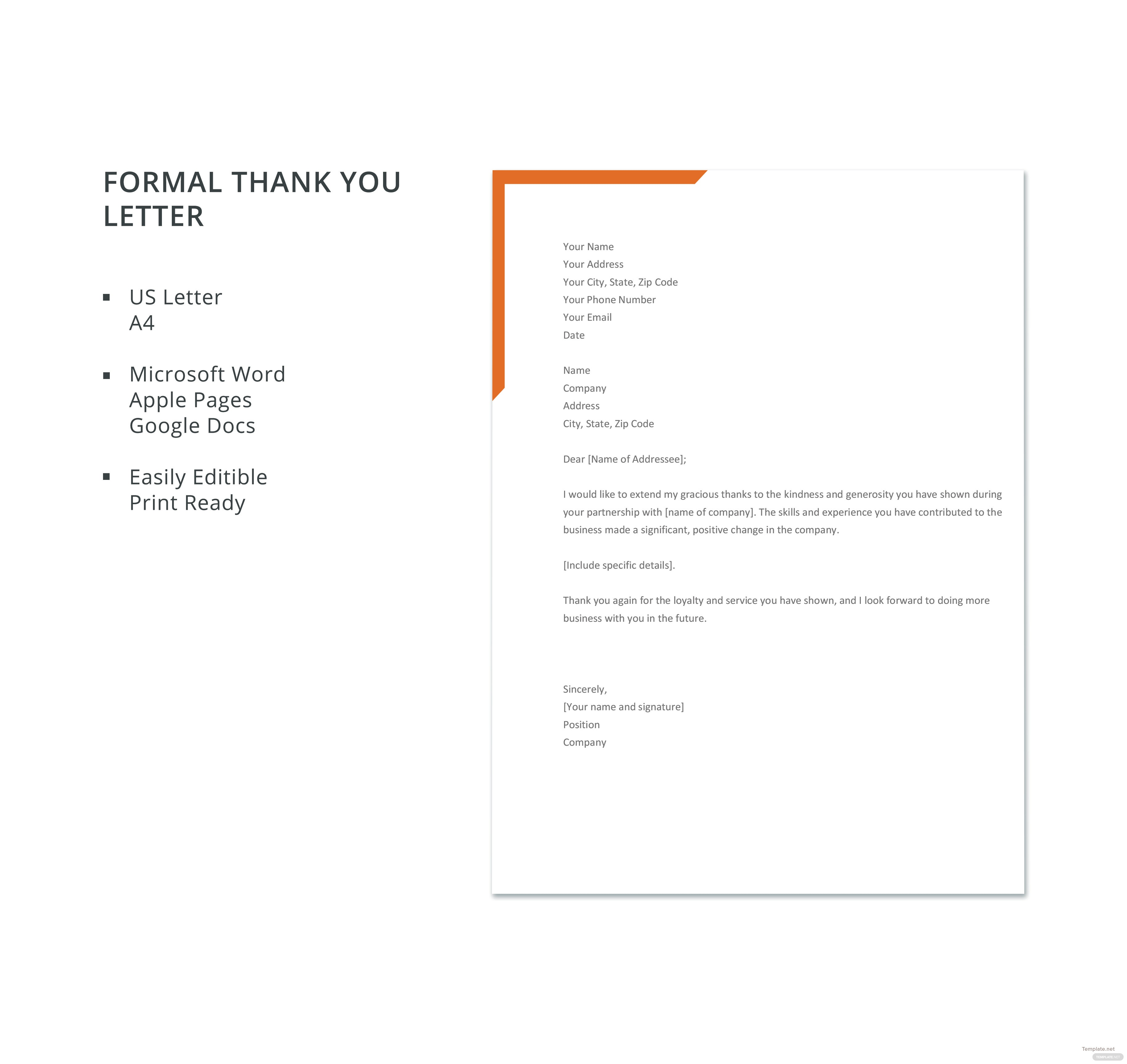 Free formal thank you letter template in microsoft word apple pages free formal thank you letter template spiritdancerdesigns Images