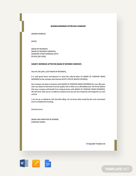 Free Business Reference Letter for a Company