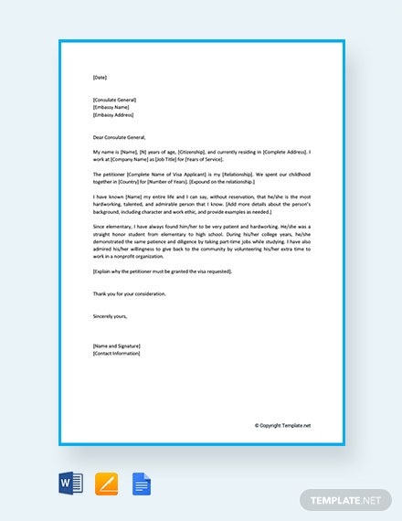 Immigration Reference Letter for a Family Member Template [Free PDF] - Google Docs, Word