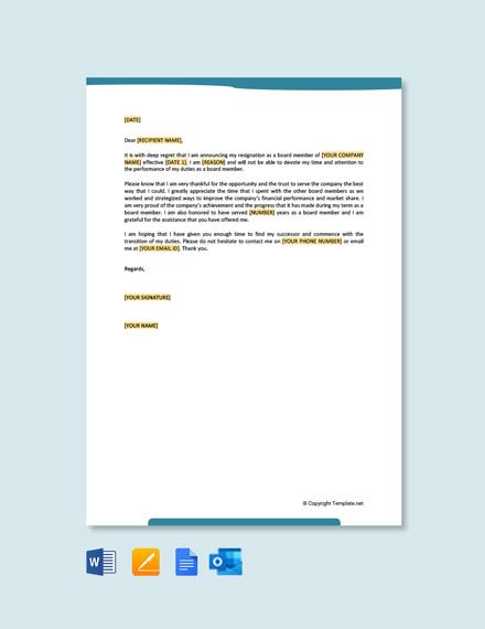 Free Board Membership Resignation Letter