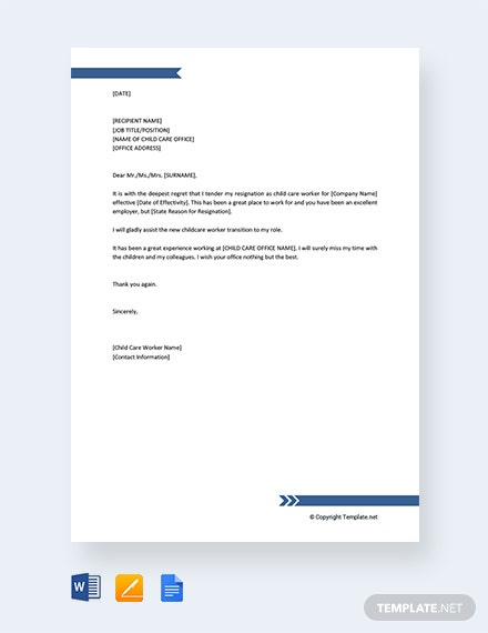 Free Child Care Worker Resignation Letter Template Word