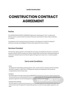 Construction Contract Agreement Template