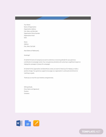 Free Thank You Letter for Donation Template