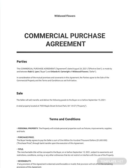 Commercial Purchase Agreement Template