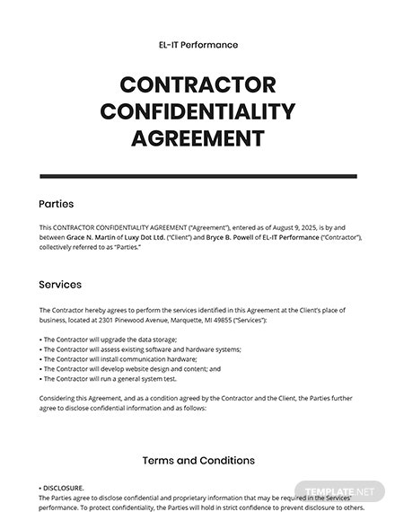 Contractor Confidentiality Agreement