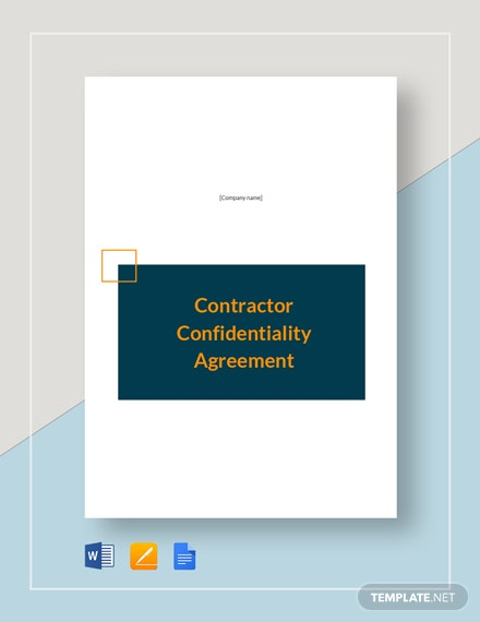 Contractor Confidentiality Agreement Template