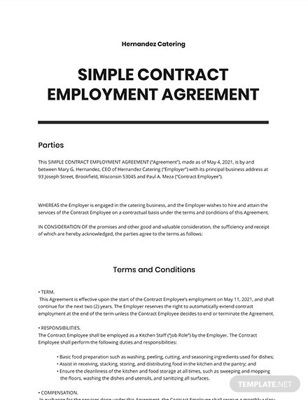 Simple Contract Employee Agreement