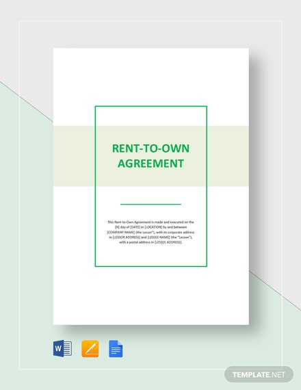 Rent To Own Agreement Sample Template