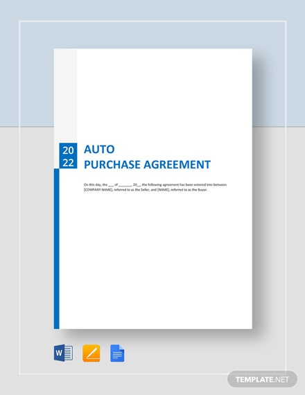 Auto Purchase Agreement Template Word Google Docs