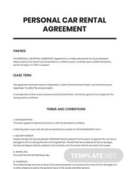 Personal Car Rental Agreement Template