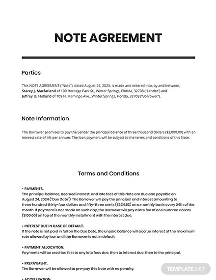 Note Agreement Template