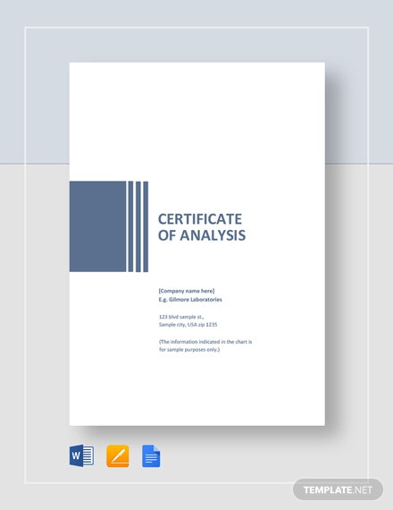 Simple Certificate of Analysis Template