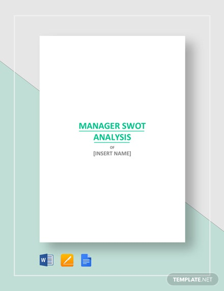 manager swot analysis sample template  download 195