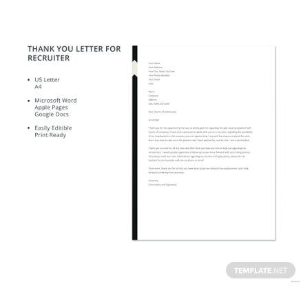 Free Thank You Letter for Recruiter Template