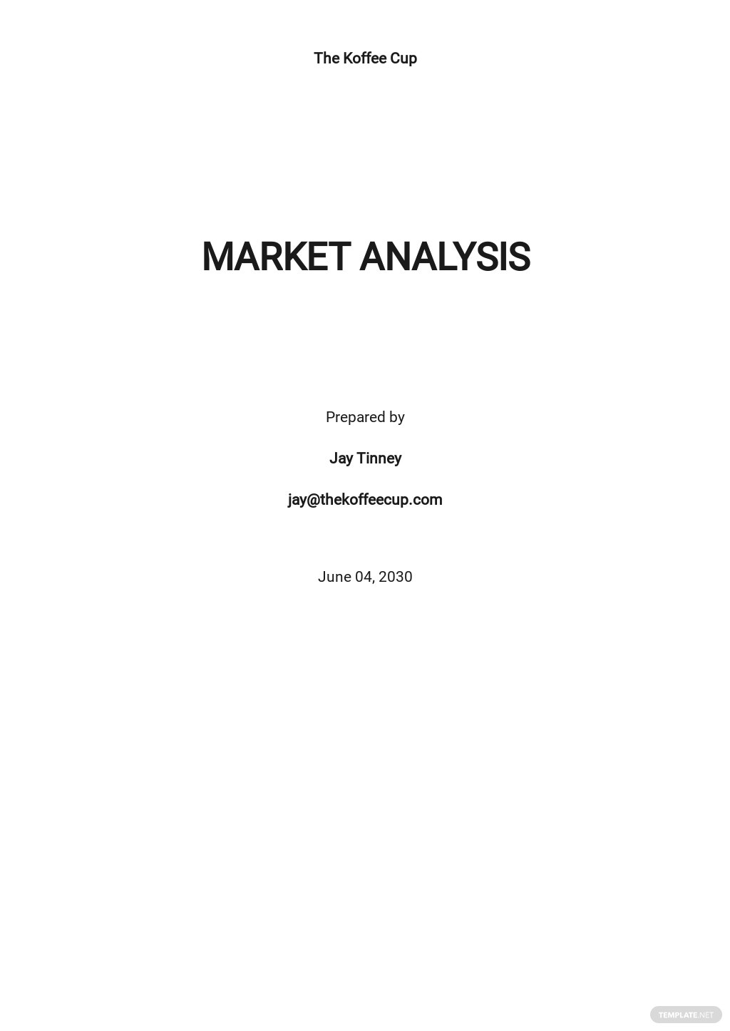 Target Market Analysis Example Template
