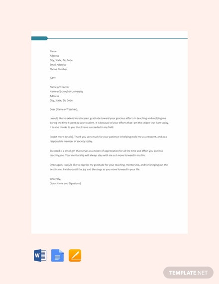Free Thank You Letter for Teacher Template