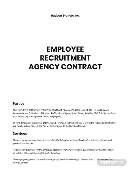 Employee Recruitment Agency Contract
