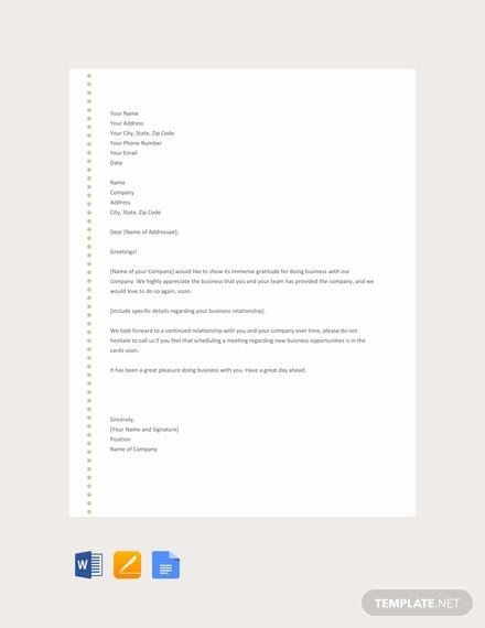 Free Thank You Letter to Client Template