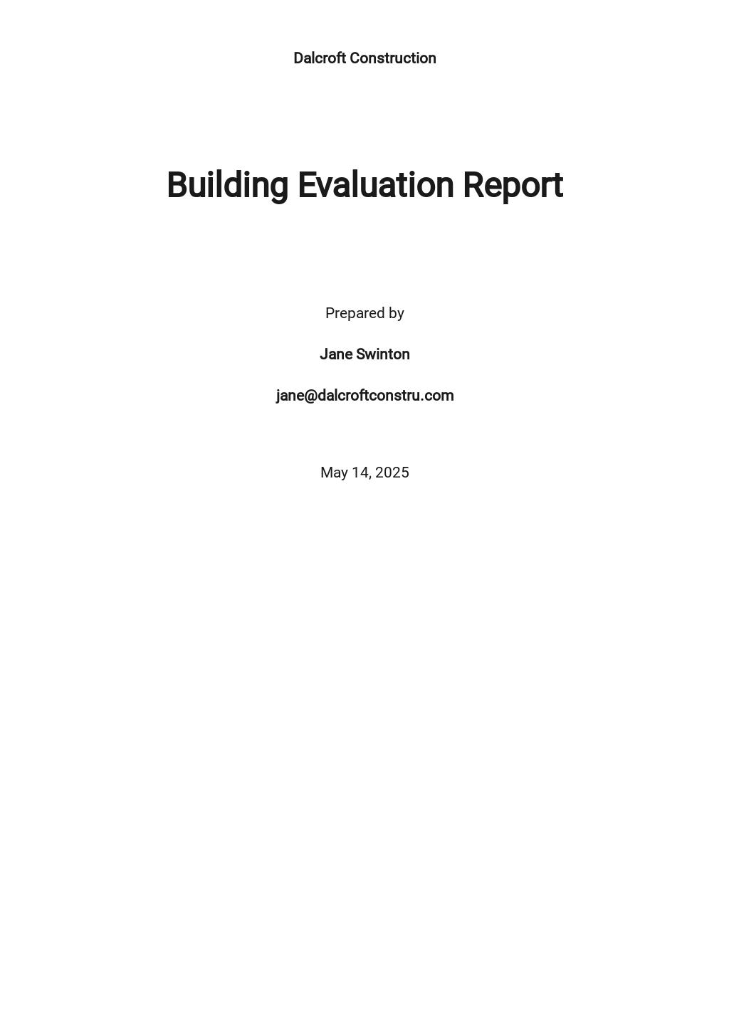 Building Evaluation Report Template