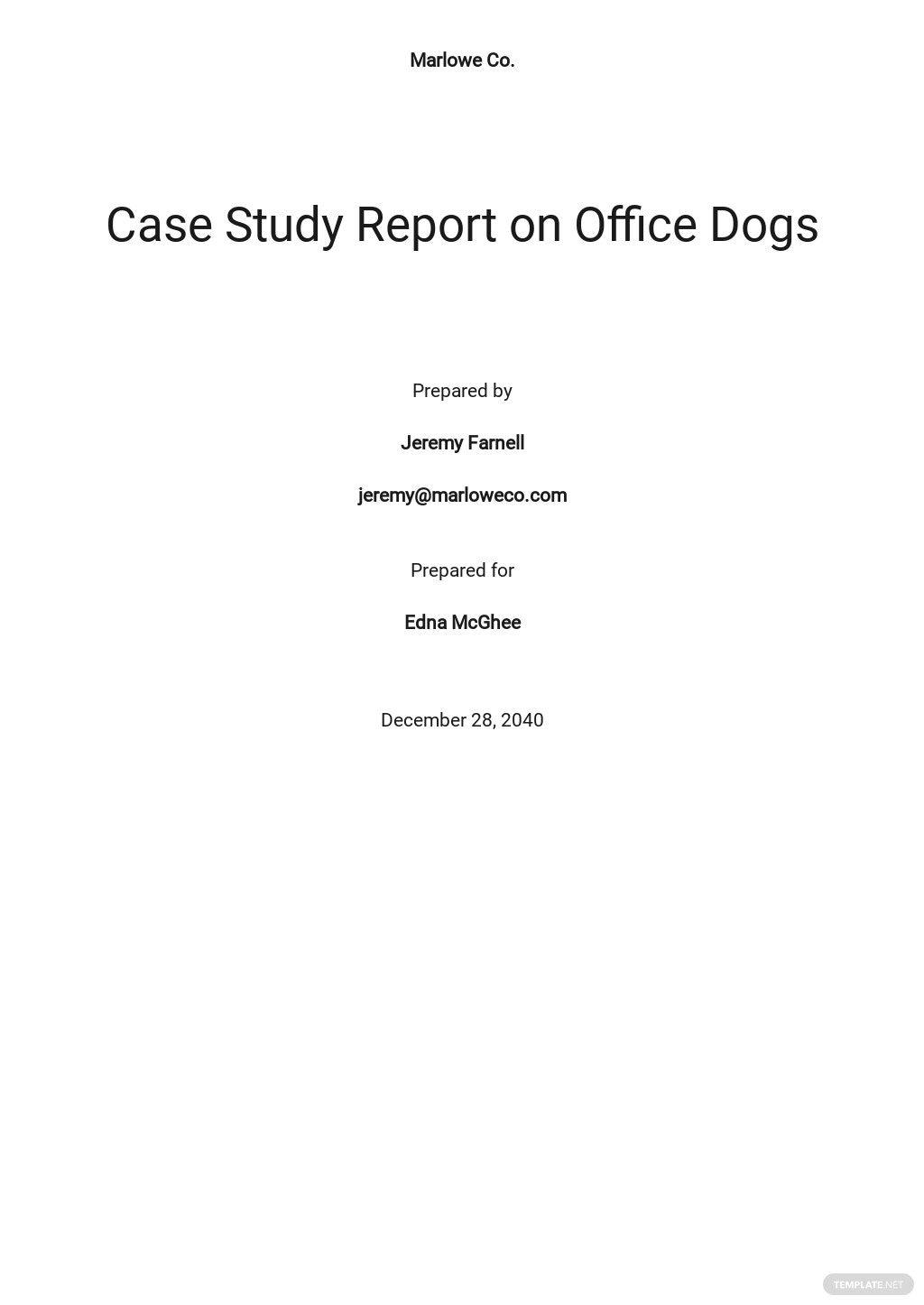 Case Study Report Template