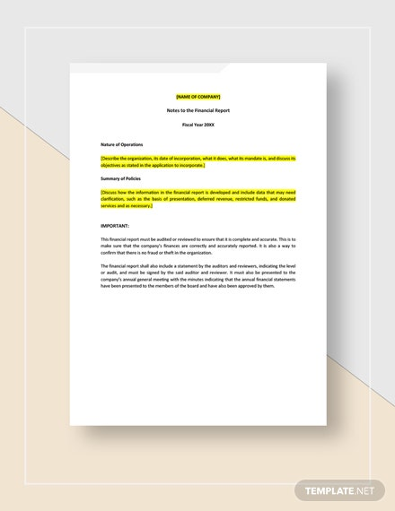 Financial Report Sample for Small Business Instructions