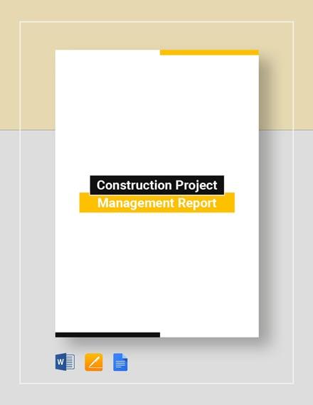 Construction Project Management Report Template