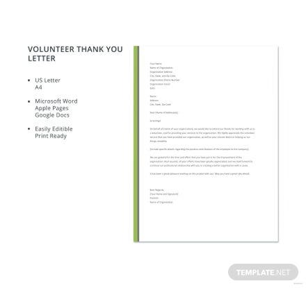 Free Volunteer Thank You Letter Template