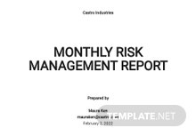 Monthly Risk Management Report Template