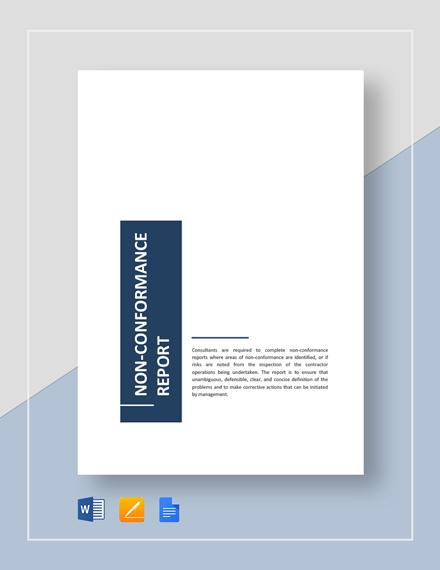Non-Conformance Report Template
