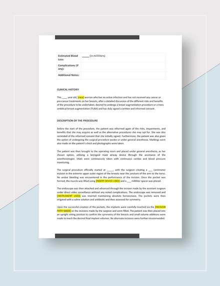 Operative Report Download